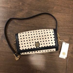Tory Burch Robinson Basket Weave Navy